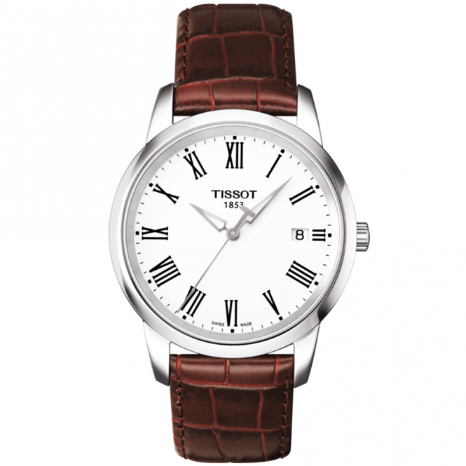 Tissot dream 38mm steel white roman dial leather strap watch for Celebrity tissot watches