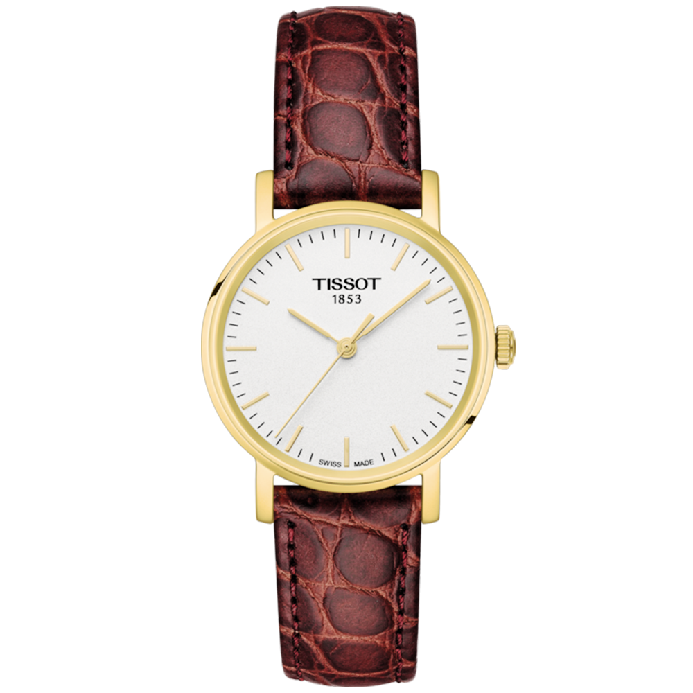 97acc5fa2920 Tissot Tissot Everytime 30mm Yellow Gold PVD   Brown Leather Strap Watch