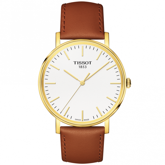 Tissot everytime 38mm yellow gold pvd brown leather strap watch for Celebrity tissot watch