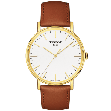 Everytime 38mm Yellow Gold PVD & Brown Leather Strap Watch