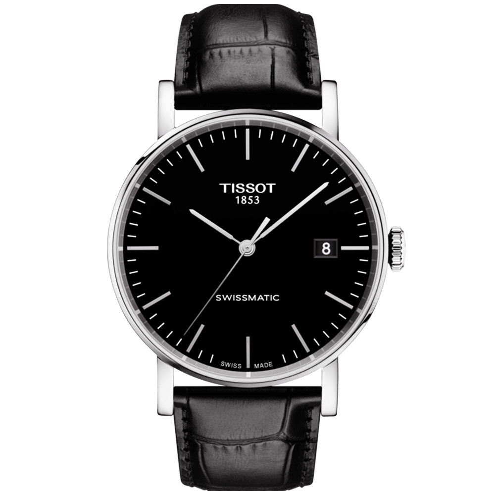 5751ed104 Tissot Tissot Everytime 40mm Black Dial & Leather Strap Men's Automatic  Watch