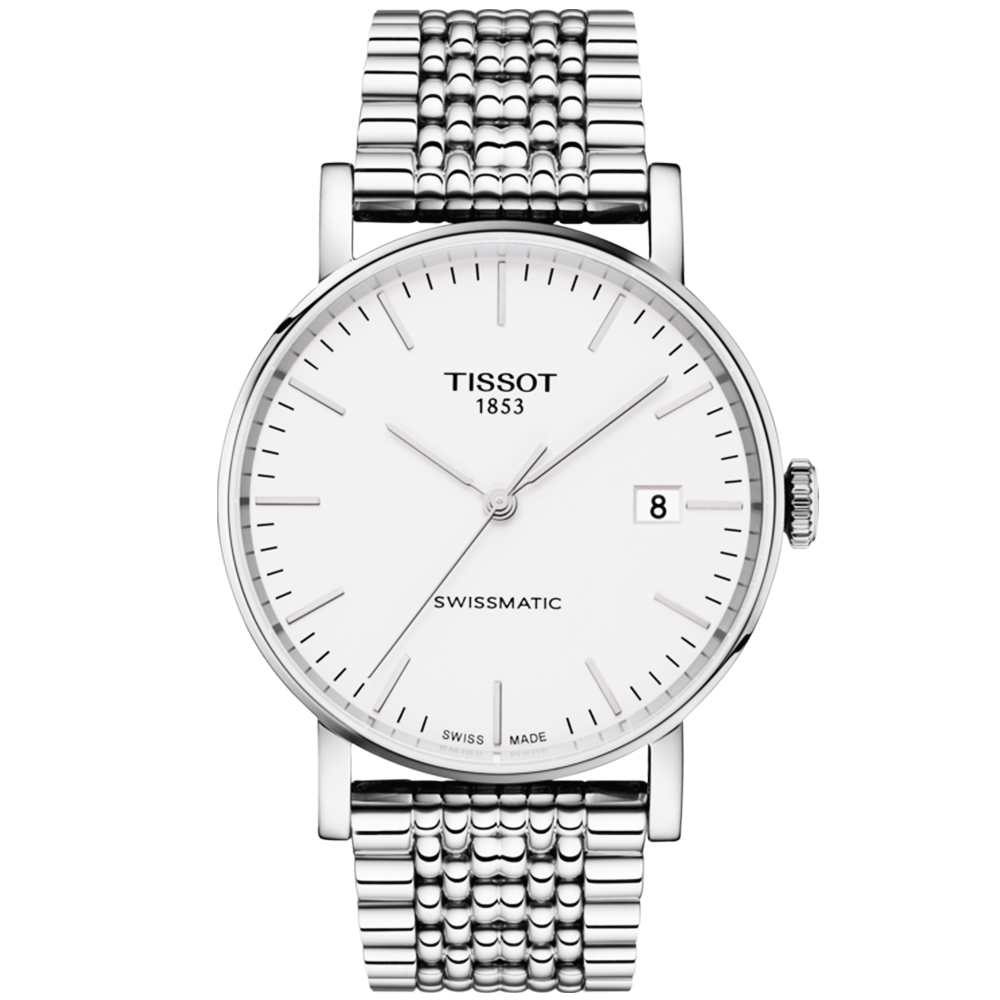 Tissot everytime 40mm silver dial men 39 s automatic bracelet watch for Celebrity tissot watch