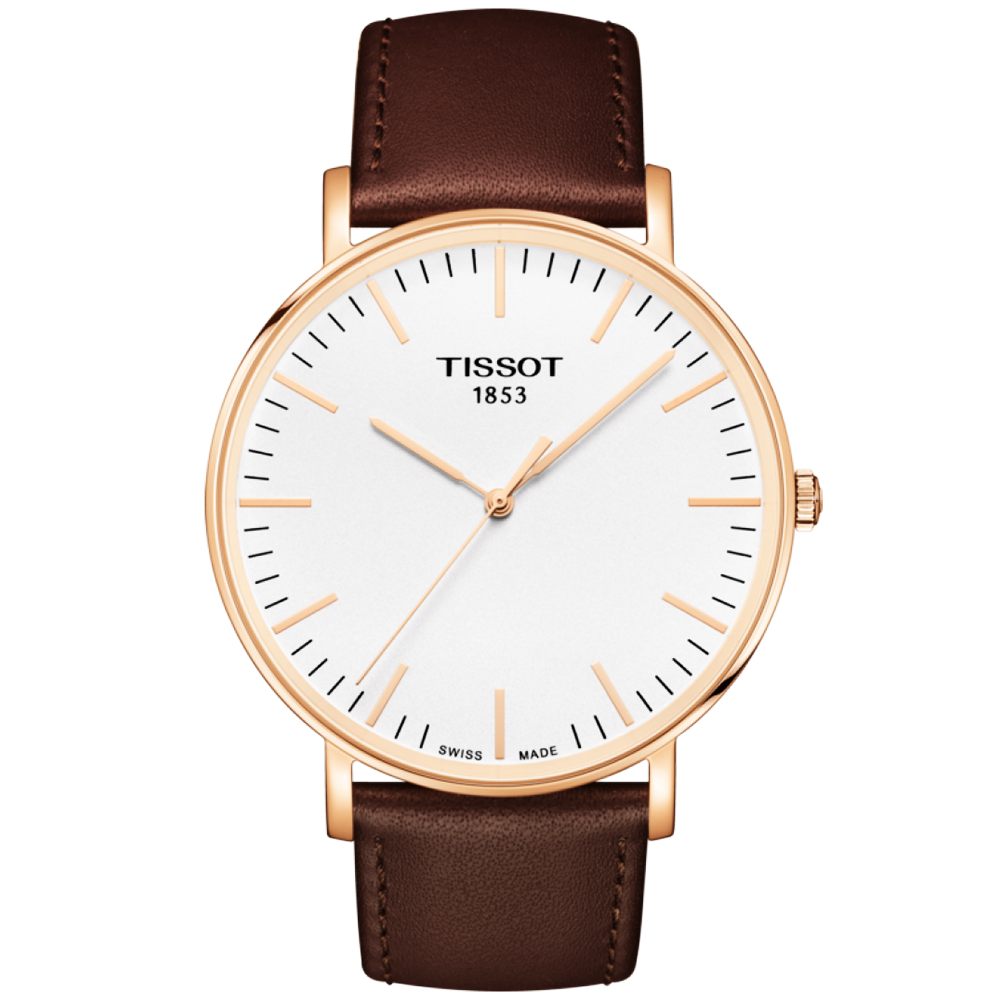 Tissot everytime 42mm rose gold pvd brown leather strap watch for Celebrity tissot watch