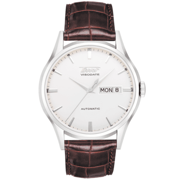 Heritage Visodate 40mm Silver Dial & Brown Strap Watch