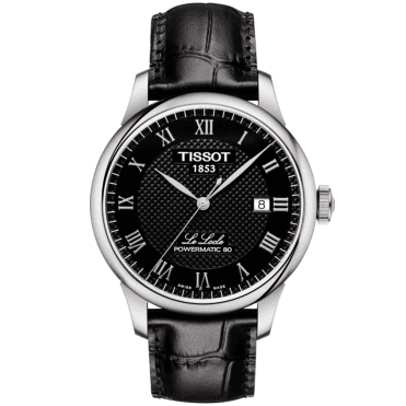 Le Locle 39mm Black Guilloche Dial Men's Leather Strap Watch
