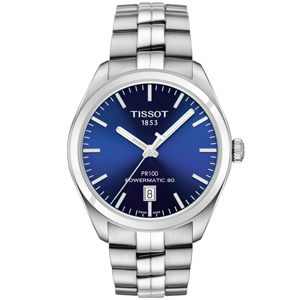 Tissot pr100 39mm blue dial men 39 s automatic watch for Celebrity tissot watches