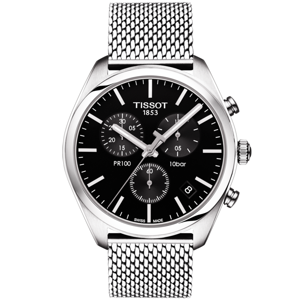 Tissot pr100 41mm black dial steel mesh bracelet men 39 s watch for Celebrity tissot watches