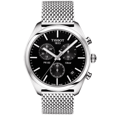 PR100 41mm Black Dial & Steel Mesh Bracelet Men's Chronograph Watch
