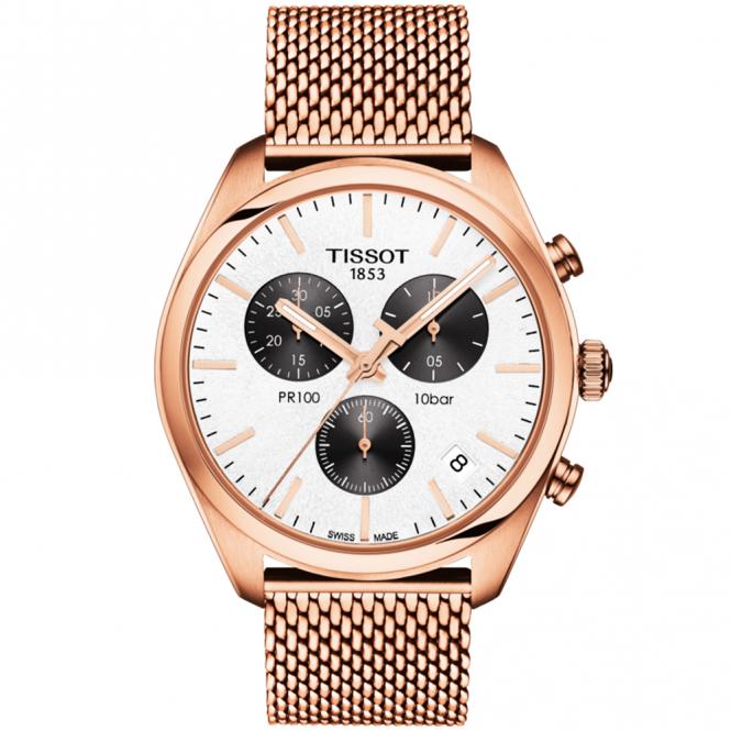 Tissot pr100 41mm panda dial rose gold pvd men 39 s chronograph watch for Celebrity tissot watch