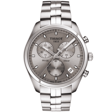 PR100 41mm Rhodium Dial & Steel Bracelet Men's Chronograph Watch
