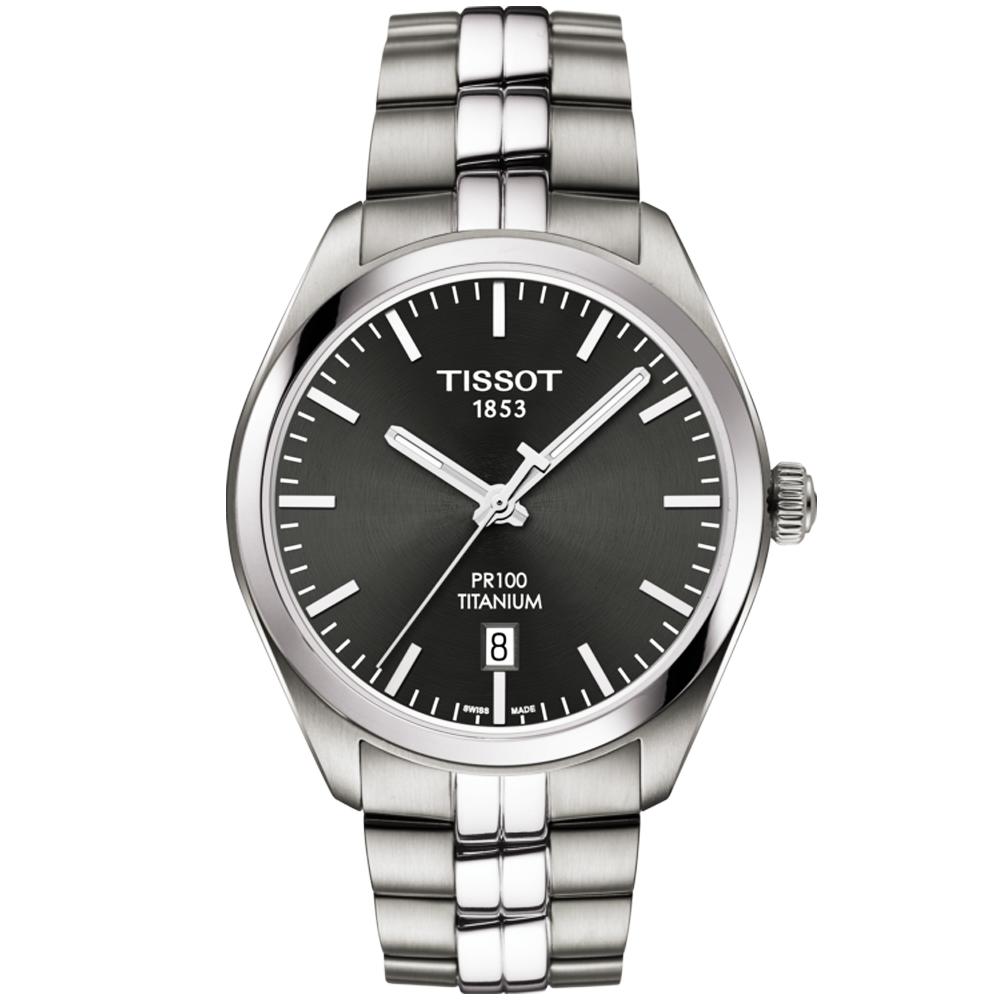 Tissot pr100 titanium anthracite dial quartz men 39 s bracelet watch for Celebrity tissot watch