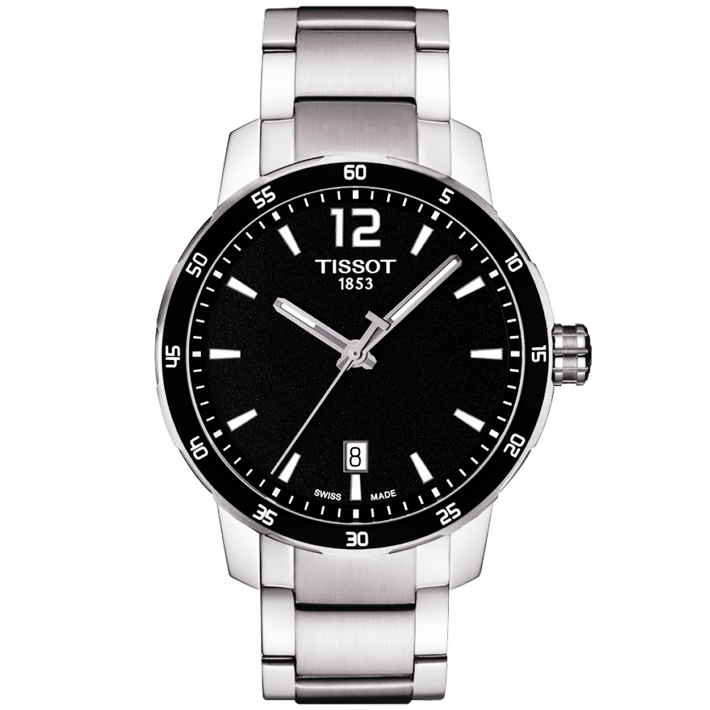 Tissot quickster 40mm black dial bezel men 39 s bracelet watch for Men decagonal bezel bracelet