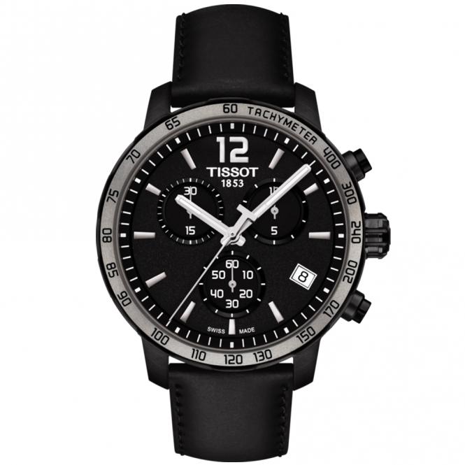 Tissot quickster all black chronograph men 39 s strap watch for Celebrity tissot watch