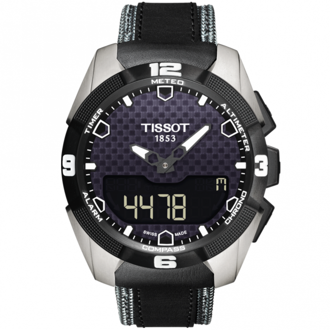 Tissot t touch expert solar anthracite black dial men 39 s leather strap watch from berry 39 s jewellers for Celebrity tissot watch