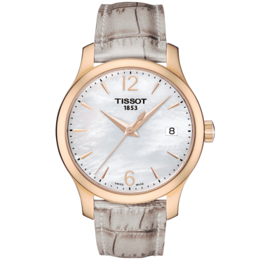 Tradition 33mm Rose Gold PVD & Beige Leather Strap Watch