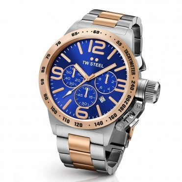 Canteen 45mm Blue/Rose Dial Chronograph Bracelet Watch