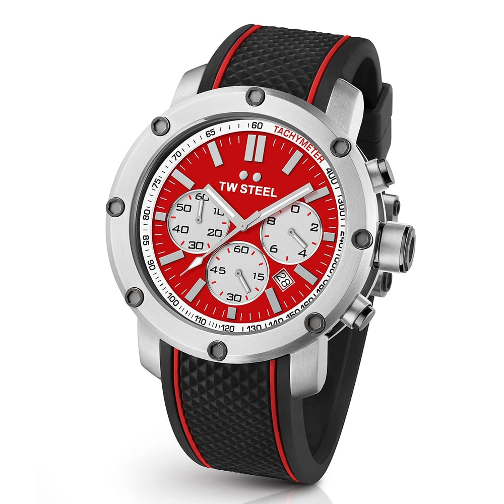 tw steel grandeur tech 48mm red dial rubber strap men s watch ts1 grandeur tech 48mm red dial amp rubber strap