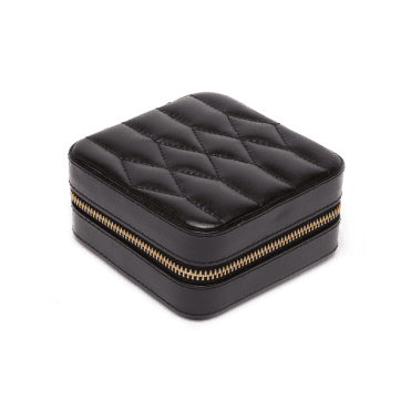 Caroline Black Quartz Leather Zip Travel Case