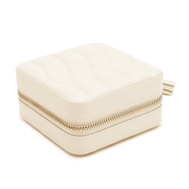 Caroline Ivory Leather Zip Travel Case