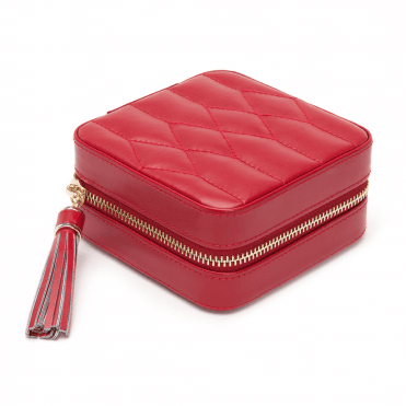 Caroline Red Quartz Leather Zip Travel Case
