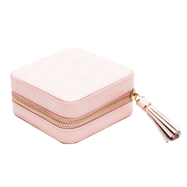 Caroline Rose Quartz Leather Zip Travel Case