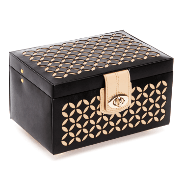 Chloe Black Patterned Leather Small Jewellery Box