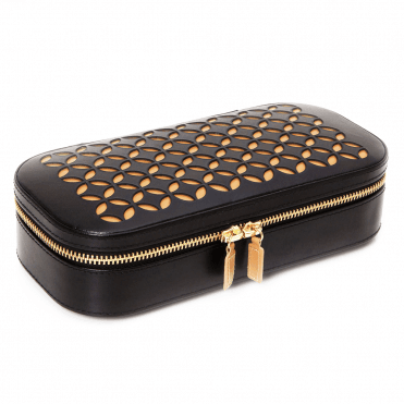 Chloe Black Patterned Leather Zip Jewellery Case