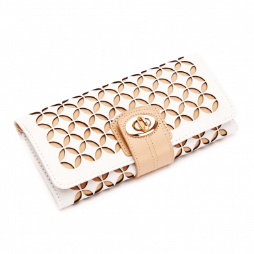 Chloe Cream Patterned Leather Jewellery Roll