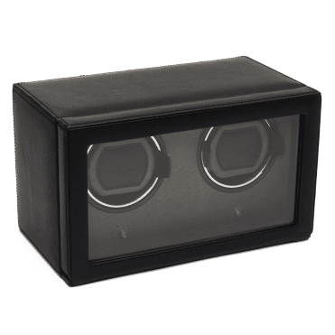 Cub Black Leather Double Watch Winder with Cover