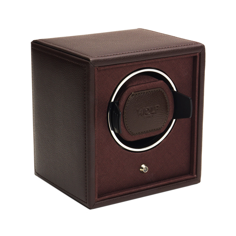 wolf designs cub brown leather single watch winder