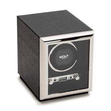Exotic Black Python-Embossed Leather Single Watch Winder