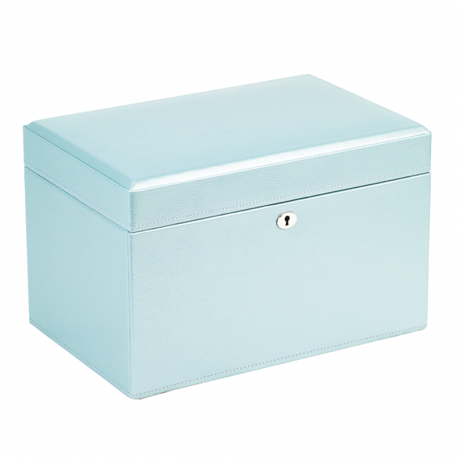 Wolf 1834 london ice blue leather medium jewellery box 315124 for Wolf 1834 jewelry box