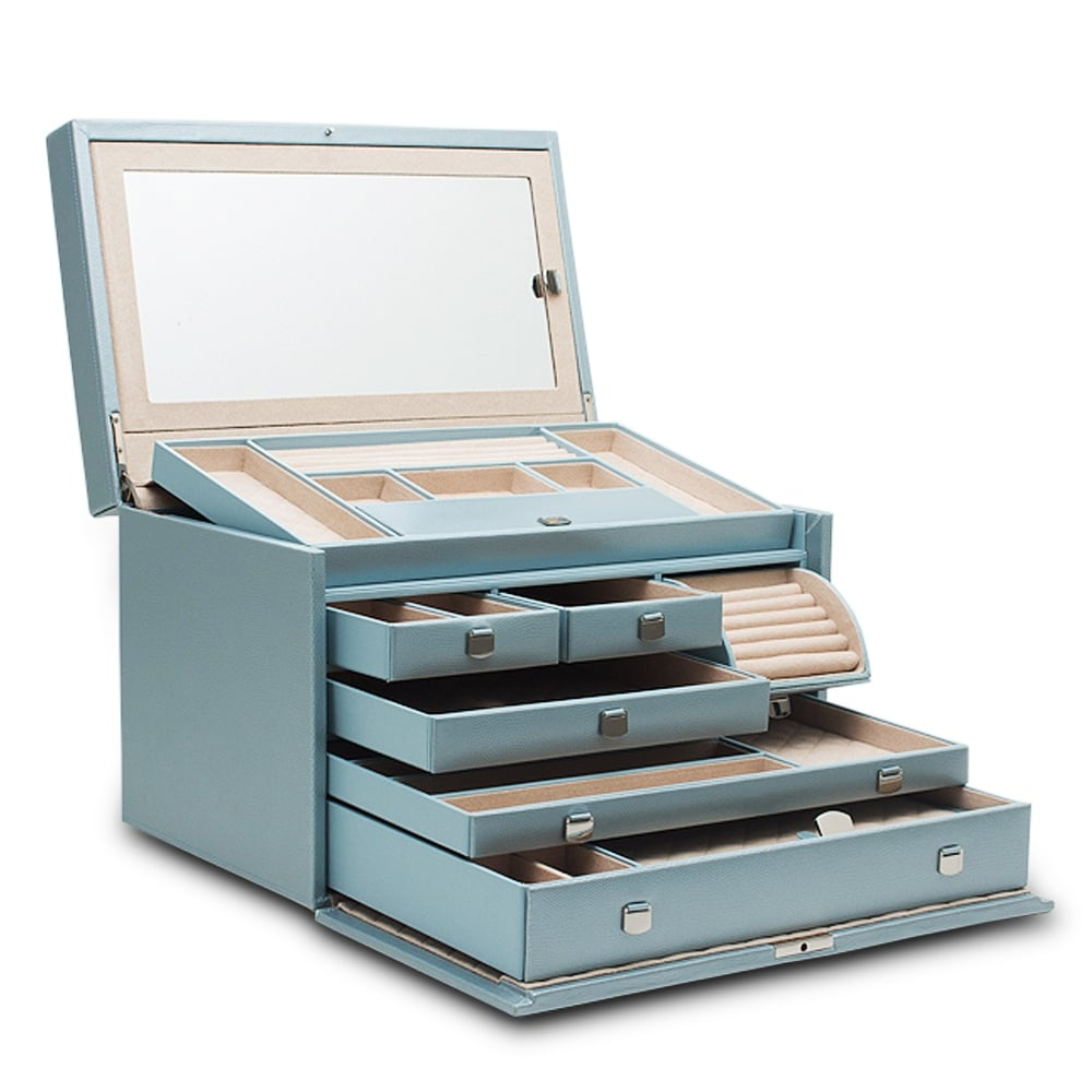 Wolf 1834 london large ice blue leather jewellery box 315024 for Wolf 1834 jewelry box