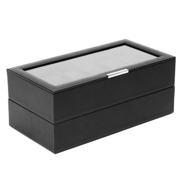Stackable Set Of 2-12 Piece Black Leather Watch Trays