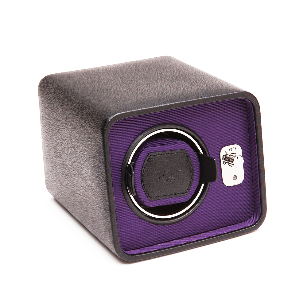 wolf 1834 windsor single black purple leather watch winder