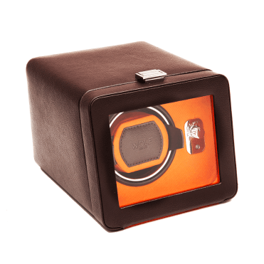 Windsor Single Brown Leather & Orange Silk Watch Winder with Cover